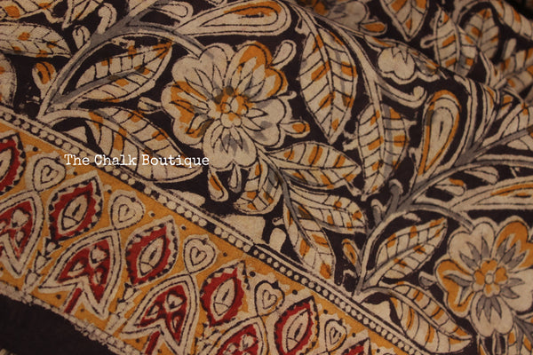 Black Overall soft cotton kalamkari saree with thin border. TCB-KAL18-P9
