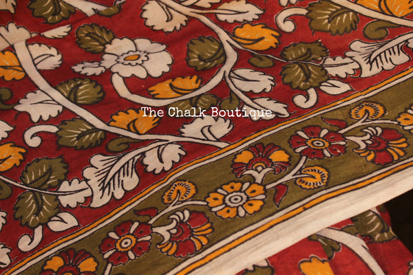 Red Floral Overall soft cotton kalamkari saree with thin border. TCB-OKAL10-P21