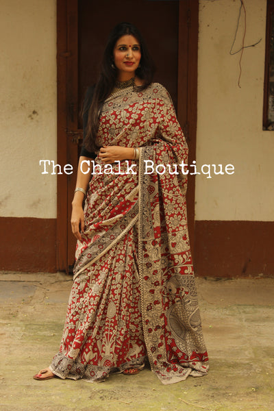 Red 'deers' Floral Overall soft cotton kalamkari saree with thin border.