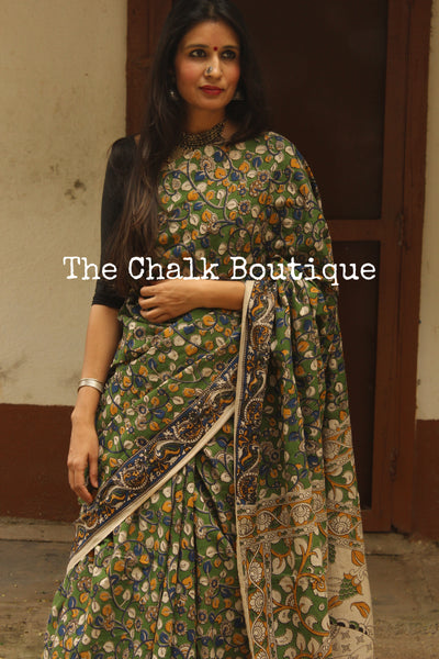 Green Floral Overall soft cotton kalamkari saree with thin border.