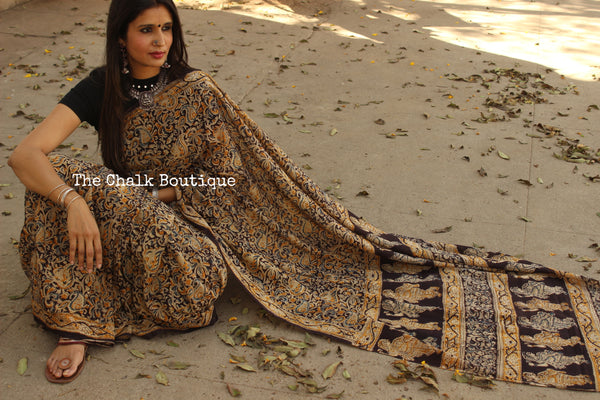 Black Overall soft cotton kalamkari saree with thin border. TCB-KAL21-P9