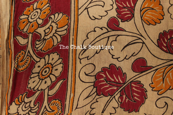 Blue Floral Overall soft cotton kalamkari saree with thin border.