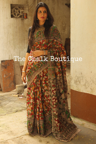 Red Floral Overall soft cotton kalamkari saree with broad border.