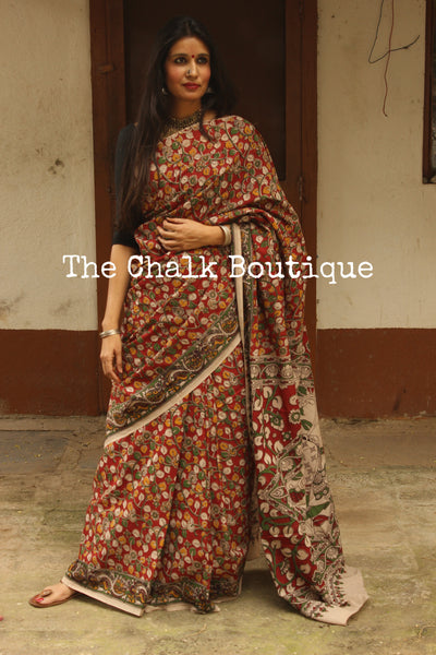 Red Floral Overall soft cotton kalamkari saree with thin border.