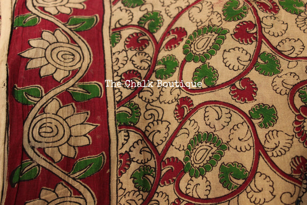 Blue Floral Overall soft cotton kalamkari saree with thin border.TCB-OKAL20-P21