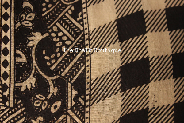 Beige Floral Overall soft cotton kalamkari saree with broad border.