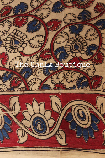 Black Floral Overall soft cotton kalamkari saree with thin border.TCB-OKAL23-P21