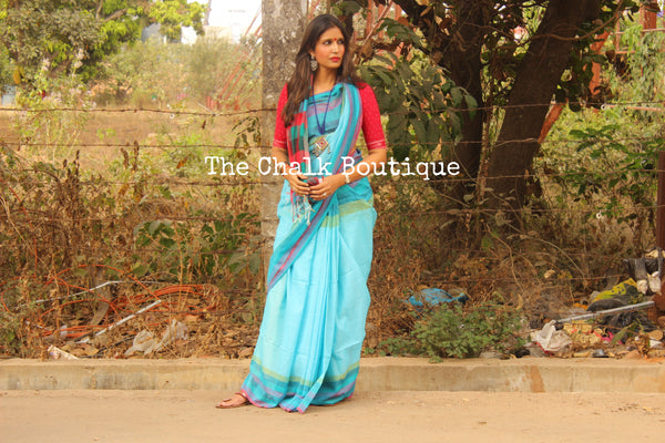 Blue Khadi Cotton Saree with multicoloured Border and checked palla NF-KC12-C4