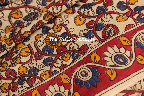 Off White Floral Overall soft cotton kalamkari saree with thin border.