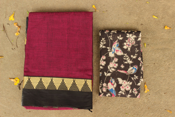 Wine Color Narayanpet cotton saree with contrast border.TCB-NP1-P21-The Chalk Boutique