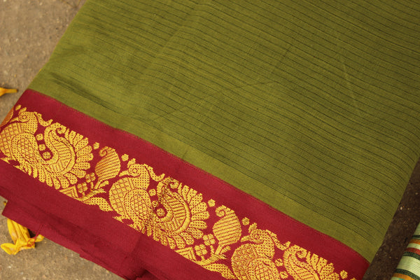 Mehndi Green Self Striped Gadwal cotton saree With zari Border  TCB-GAD13-P19