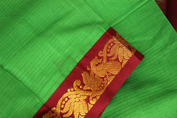 Green Self Striped Gadwal cotton saree With zari Border TCB-GAD14-P19-The Chalk Boutique