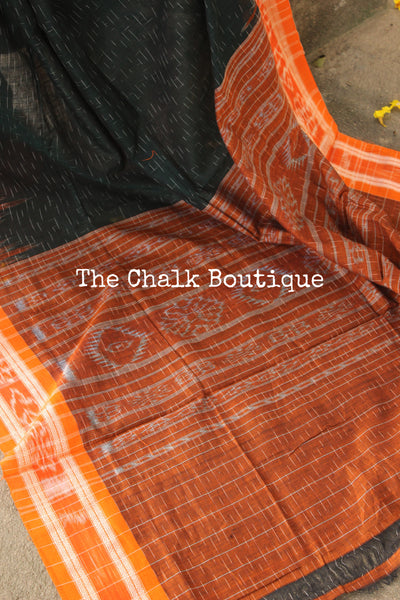 Handwoven sambalpuri jharna ikat saree in cotton. TCB- JH2-NH2-The Chalk Boutique
