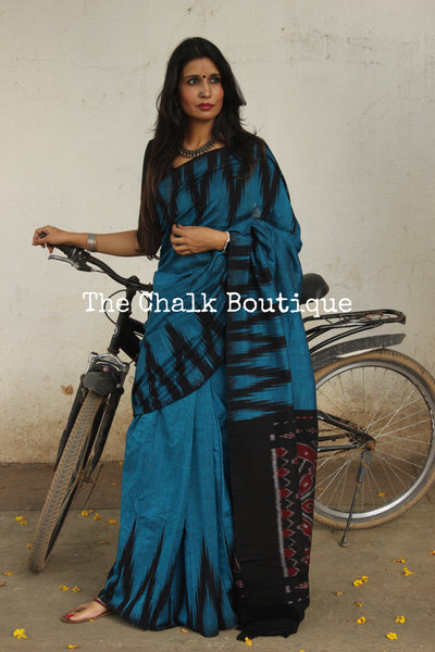 Blue with black temple border handwoven sambalpuri kargil saree.TCB- KS4-NH3-The Chalk Boutique