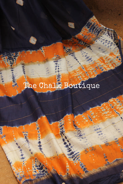 Blue Clamp Shibori chanderi saree. TCB-CH1-RB4-The Chalk Boutique