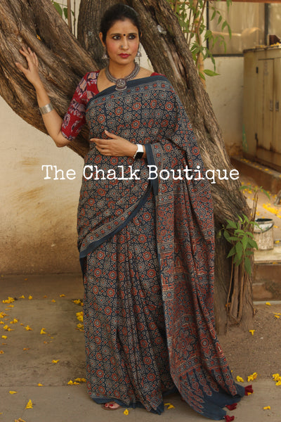Indigo Handwoven vegetable dyed Ajrakh mul cotton saree . KCH-AJR1-C15-The Chalk Boutique