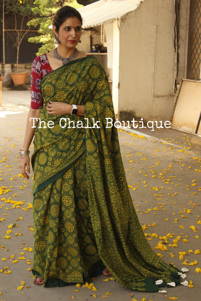 Green Handwoven vegetable dyed Ajrakh mul cotton saree . KCH-AJR3-C15-The Chalk Boutique