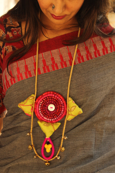 Handcrafted necklace with silk fabric and ghunghroos. AN129