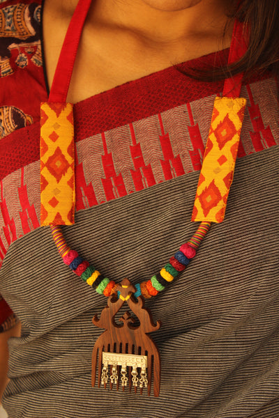 Handcrafted adjustable necklace with antique wooden comb and lambani beads.. AN124