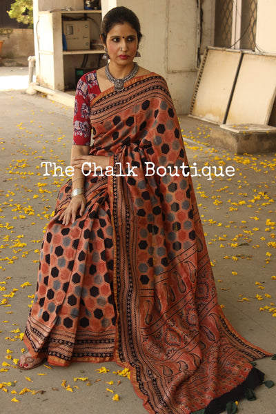 Rust Chanderi silk Cotton hand block printed vegetable dyed Ajrakh saree. KCH-CHN3-C15