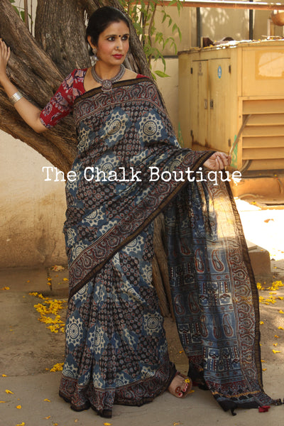 Indigo Chanderi silk Cotton hand block printed vegetable dyed Ajrakh saree. KCH-CHN2-C15