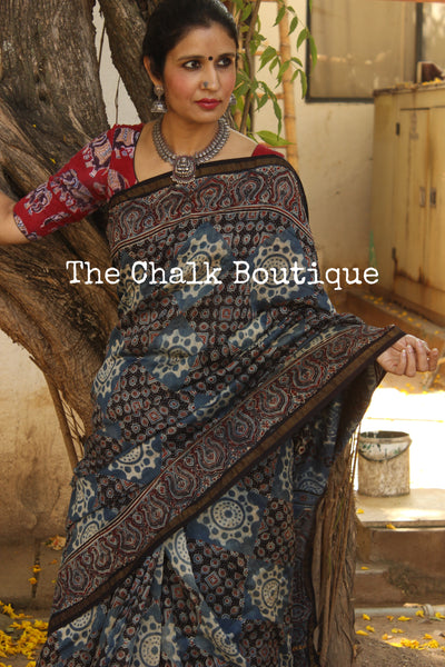 Indigo Chanderi silk Cotton hand block printed vegetable dyed Ajrakh saree. KCH-CHN2-C15-The Chalk Boutique