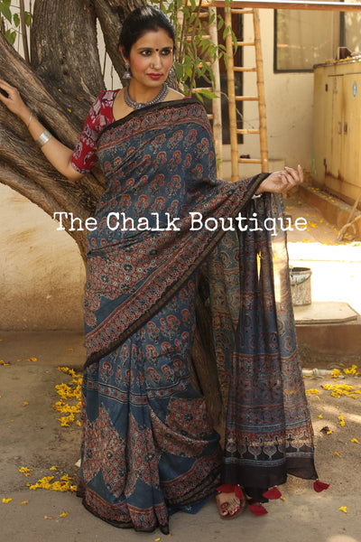 Indigo Chanderi silk Cotton hand block printed vegetable dyed Ajrakh saree. KCH-CHN1-C15