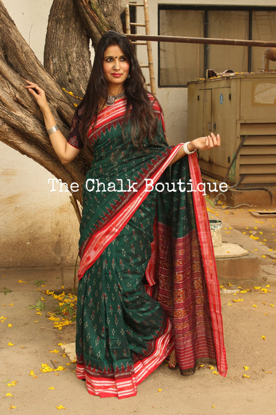 Green with red border Handwoven sambalpuri ikat saree in cotton. TCB-OV1-NH3-The Chalk Boutique