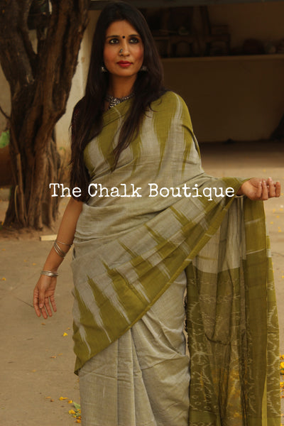| Mojito | Pale Green with Green temple border handwoven sambalpuri kargil saree.TCB-KS8-NH3-The Chalk Boutique