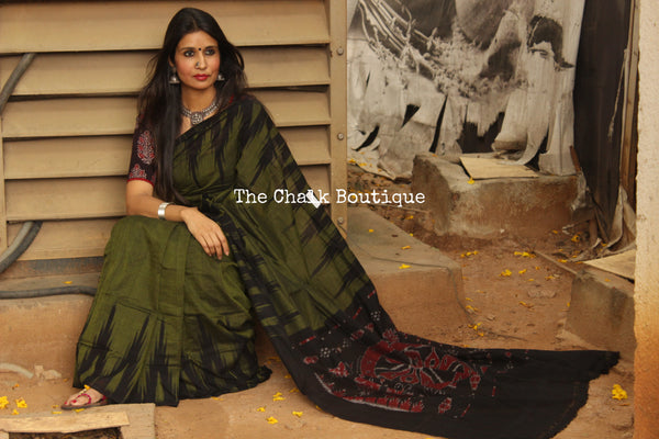 Olive Green with black temple border handwoven sambalpuri kargil saree.TCB-KS7-NH3-The Chalk Boutique