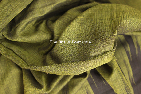 Olive Green with black temple border handwoven sambalpuri kargil saree.
