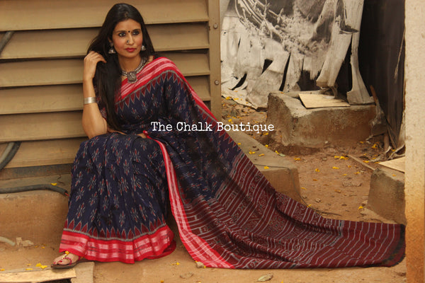 Royal Blue Handwoven sambalpuri ikat saree in cotton.TCB-OV1-NH1-The Chalk Boutique
