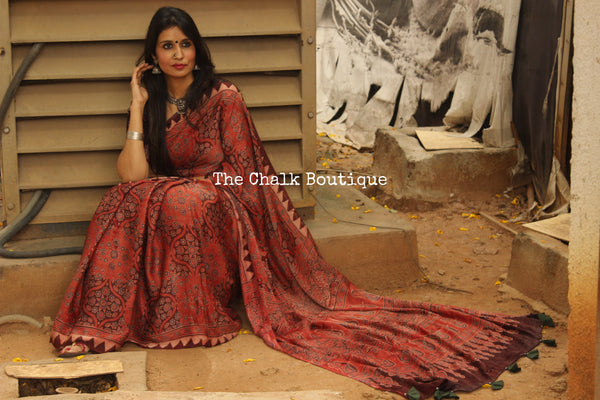 Red Modal silk vegetable dyed Ajrakh saree. KCH-MOD3-C15