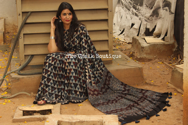 Indigo Modal silk vegetable dyed Ajrakh saree. KCH-MOD4-C15-The Chalk Boutique