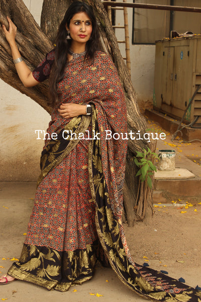 Madder vegetable dyed Ajrakh Silk saree with zari border. KCH-SLK3-C15-The Chalk Boutique