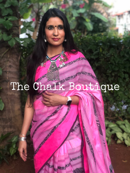 | Matsya | Soft Handwoven 'Dhonekhali' saree in pink.