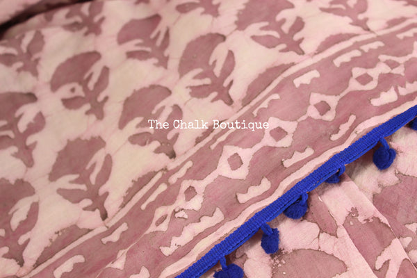 | Pink Lilies | Hand block printed dabu saree with blue border. TCB-POM13-RB4-The Chalk Boutique