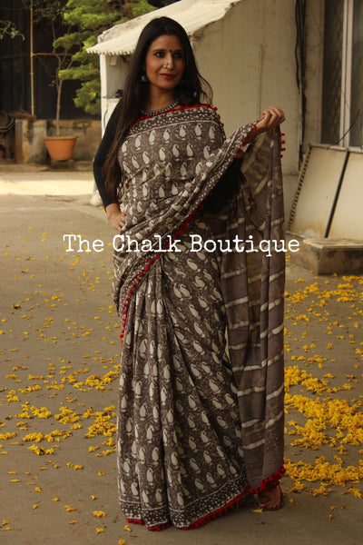| Happy Dance | Grey Hand block printed dabu saree with red border. TCB-POM1-RB4-The Chalk Boutique