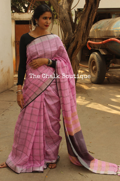 | Pink Magic | Checked with silver border linen Saree with tassels. TCB-LIN4-C4-The Chalk Boutique