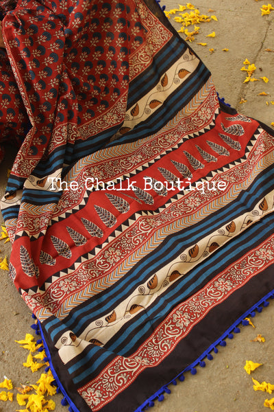 | Autumn Nights | Red Hand block printed dabu saree with blue border. TCB-POM4-RB4-The Chalk Boutique