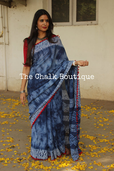 | Magic In The Air | Indigo Shibori saree with red border. TCB-POM11-RB4-The Chalk Boutique