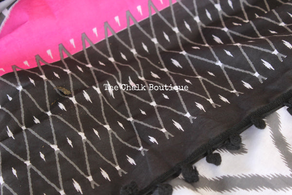 | Sparkling Snow | White and Black hand block printed dabu saree with black border. TCB-POM7-RB4-The Chalk Boutique