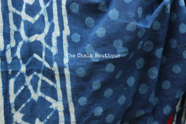 | Blue Gardenia | Indigo hand block printed dabu saree with red border. TCB-POM2-RB4-The Chalk Boutique