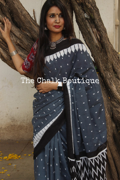 | In the Woods | Steel Grey hand block printed dabu saree. TCB-MUL1-RB4