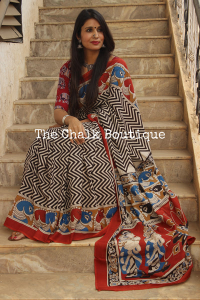 | Gaatha ( Tales ) | Chevron hand block printed dabu saree wth kalamkari borders. TCB-MUL5-RB4-The Chalk Boutique