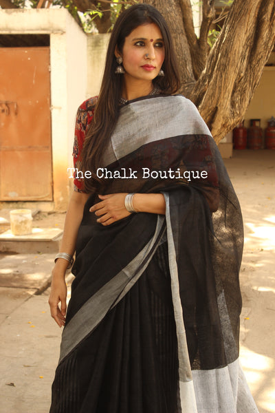 Black with silver border khadi linen Saree with tassels. TCB-LIN6-C4