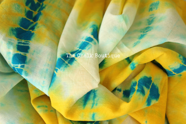 | Warm Sundays | Bright Yellow Shibori hand printed dabu cotton saree. TCB-MUL3-RB4