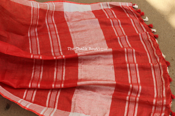 Silver border khadi linen Saree with tassels. TCB-LIN7-C4