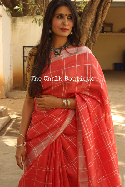 Peach checked Silver border khadi linen Saree with tassels. TCB-LIN8-C4