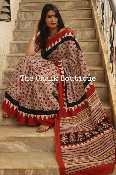 | Winter Apple Candy | Red and black hand block printed dabu saree.TCB-MUL7-RB4-The Chalk Boutique